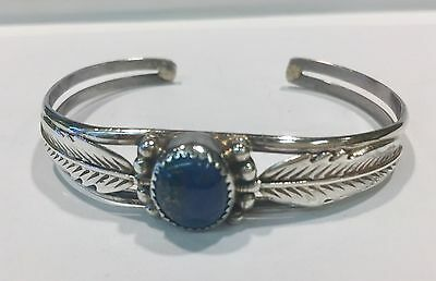 Native American Lapis Cuff Bracelet in Sterling Silver Signed