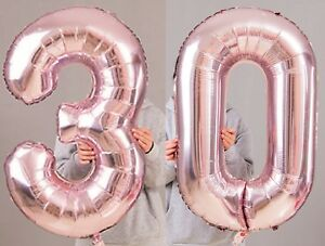 30th-Birthday-Party-40-034-Foil-Balloon-HeliumAir-Decoration-Age-30-Rose-Gold-lite