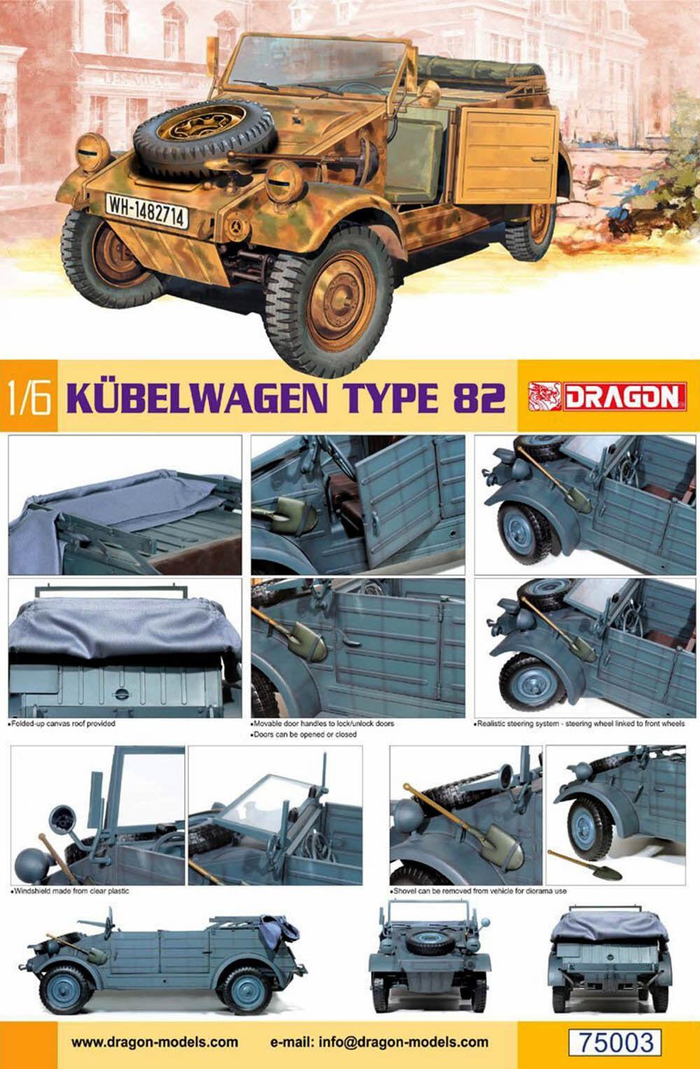 Carrello PORTAVASI Type 82 German VW VOLKSWAGEN 1 6 MODEL KIT KIT Dragon 75003