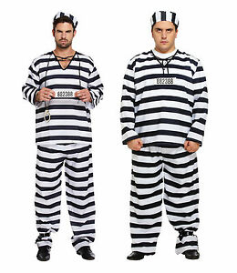 Mens-Prisoner-Convict-Fancy-Dress-Stag-Do-Costume-Outfit-Striped-Regular-or-Plus