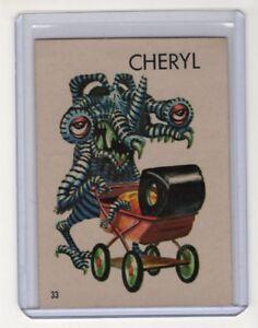 TOPPS-1965-UGLY-MONSTER-STICKER-CARD-33-CHERYL