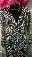 BETSEY JOHNSON -  VINTAGE Zebra Print Long Trench Coat Jacket - Women's Size S
