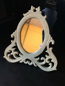 VINTAGE SHABBY CHIC GREEN WOODEN FREE-STANDING  DRESSING TABLE VANITY MIRROR