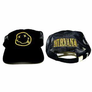 a8f9400b1b81f Official NIRVANA Logo Smile Smiley Face Dad Trucker Hat Soft Slouch ...