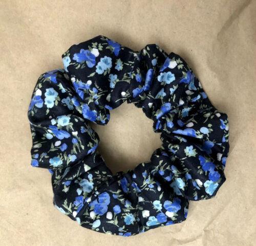 Noir /& Bleu Motif Floral Large Fait Main Coton Cheveux ChouChou Femme Fille
