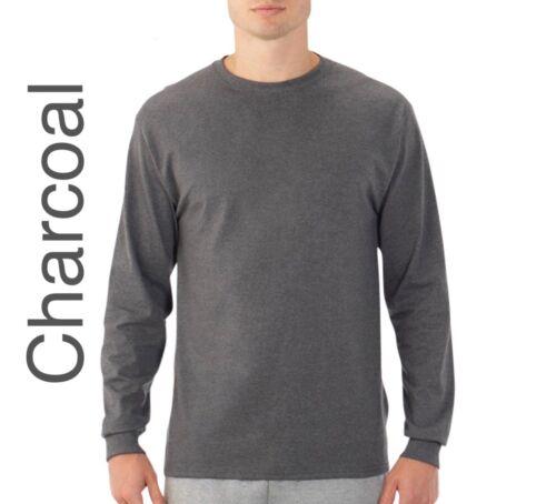 OR 4XL; 3XL Big Men's Fruit of the Loom Platinum EverSoft LS Crew T-shirt 2XL