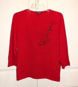 Women-039-s-NOTATIONS-Red-amp-Black-Beaded-3-4-Sleeve-Knit-Shirt-Top-Plus-Size-3X