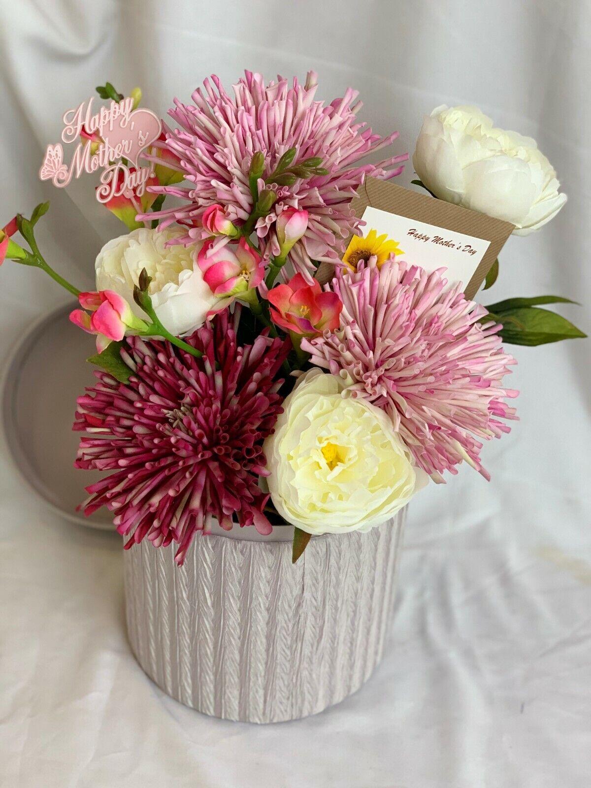 Seda Artificial Flor Sombrero arreglo de caja de regalo de imitación Peonía hospital Flores