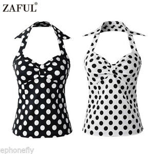 f461b7bceab3e ZAFUL Black   White Polka dot Halter top PINUP Ruched Vintage Retro ...