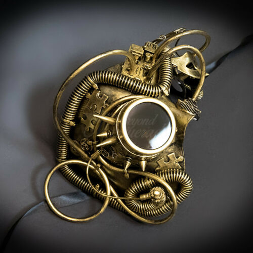 Steampunk Phantom Masquerade Mask Gold M39270