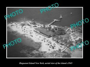 OLD-LARGE-HISTORIC-PHOTO-OF-HUGUENOT-ISLAND-NEW-YORK-AERIAL-VIEW-OF-ISLAND-1945