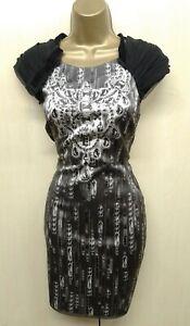 UK-12-KAREN-MILLEN-Grey-Silk-Ombre-Jewel-Print-Mini-Shift-Dress-Party-Cocktail