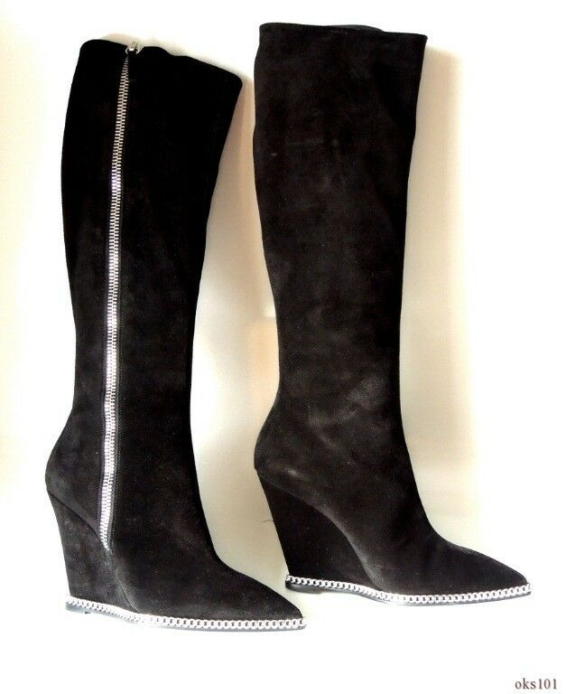 new 1.5K Giuseppe ZANOTTI 'Yvette' CHAIN bleck suede TALL WEDGE BOOTS 38 8 -sexy
