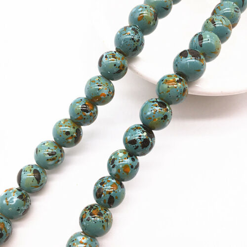 Wholesale 6//8mm Round Chic Glass Loose Spacer Charme Perles Motif Bijoux Making