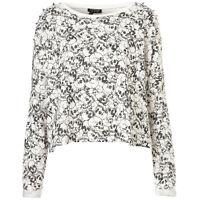 Ladies Topshop Cream Skull Print Top Studded Sweater Jersey Jumper Sweatshirt
