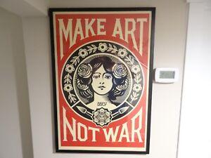 SIGNED - OBEY Shepard Fairey MAKE ART NOT WAR LOVE Print Poster Giant 24X36 KAWS