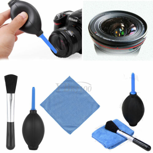 3 en 1 Limpiador de Lente de Cámara DSLR VCR Conjunto Cepillo Soplador De Polvo Kit De Paño De Limpieza