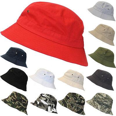 Bucket Hat Boonie Cap Hunting Fishing Outdoor Summer Cap Hats Unisex 100% Cotton
