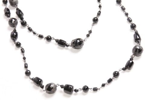 S481 Women Dark Black Elegant Long Statement Necklace with Variety of Beads