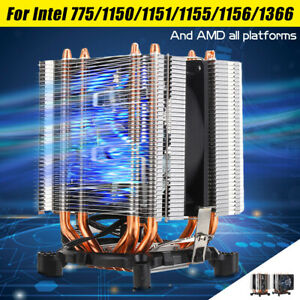 2 Pipes Blue LED CPU Cooler Fan Heat Sink for Intel 775//1150//1151//1155//1156 AMD