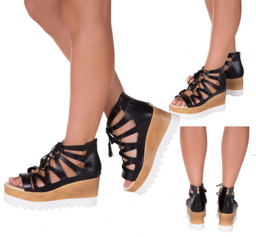 WOMEN/'S TRAINERS WEDGE SHOES Ankle Gladiator Army Camouflage Leather SIZE 3-8
