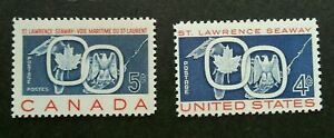 [SJ] USA Canada Joint Issue ST Lawrence Seaway 1959 (stamp pair) MNH