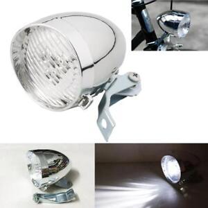 3 LED Bicycle Bike Chrome Visor Bullet Headlamp Headlight Front Tail Light US