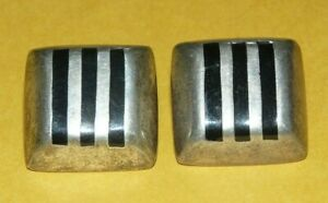 VTG-TAXCO-MEXICO-034-925-034-STERLING-SILVER-BLACK-ONYX-INLAY-SQUARE-EARRINGS-19-6g