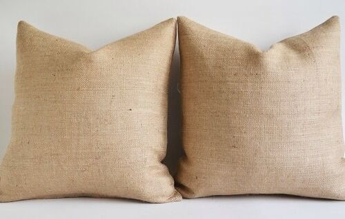 Pair Of 55 X 55 CM Shabby Chic//country//Hessian//jute Rustic Cushion Covers