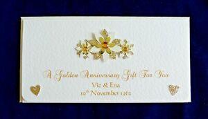 Details Zu Golden Wedding Anniversary Moneychequevoucher Wallet Personalised Handmade