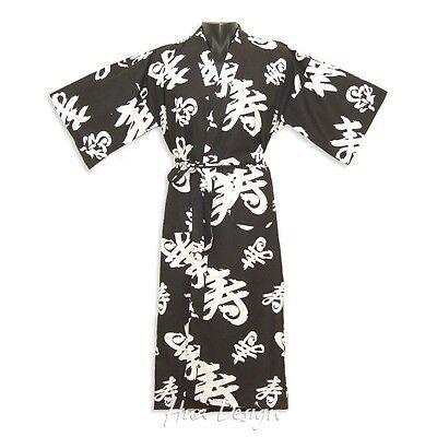 Longevity Japanese Long Yukata Cotton Kimono Robe Black & White Unisex