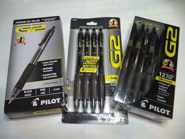 12 Pilot G-2 Retractable Gel ROLLER Pens Fine Point 0.7mm BLACK 31136 31020 10%