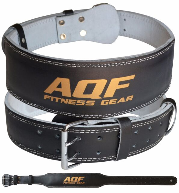 """2Fit WeightLifting 4/""""Leather Belt Back Support Strap Gym Power Training Fitness"""