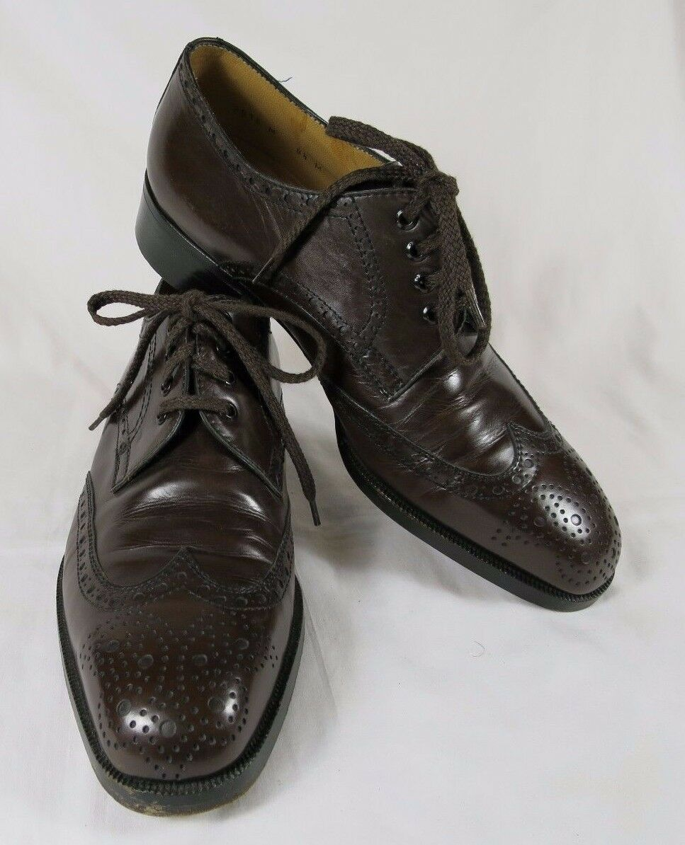 Brown Leather Wing Tip Lace Up shoes Ugo Rossetti For Men 8.5 Med