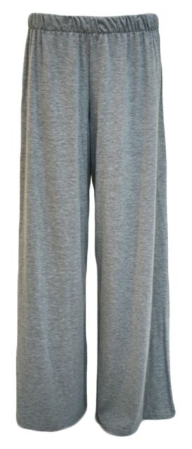 fc1bc61da90 Ladies Plus Size Palazzo Trousers Womens Flared Wide Leg Paints 8-16 Light  Grey UK 20-22