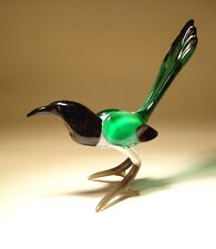 Blown Glass  Art Animal Figurine Black, White and Green MAGPIE Bird