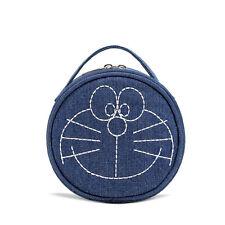 Chic Doraemon Embroidery Blue Thick Denim Round Make up Bag