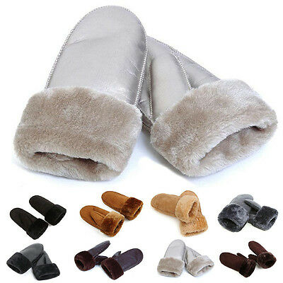 New Fashion Womens Real Sheepskin Mittens Gloves Fur Trim Leather Winter Warm