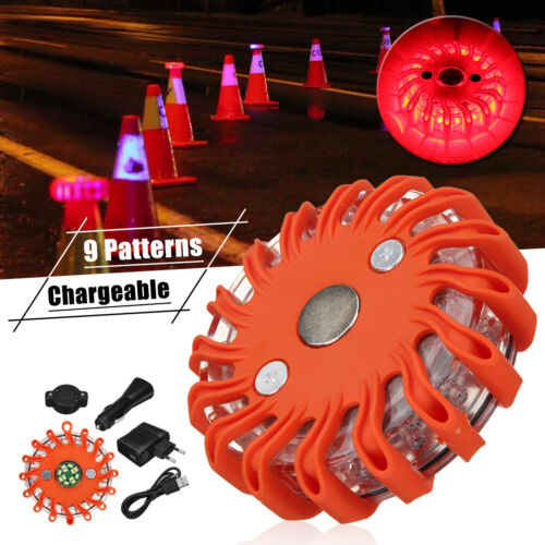 Red Rechargeable LED Round Magnetic Emergency Hazard Warning Beacon Light  //
