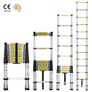12.5ft Aluminum Telescoping Telescopic Extension Ladder Tall Multi Purpose