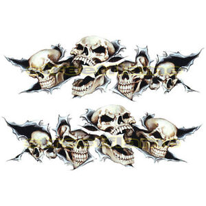 Shreaded Skull Set Decals Stickers MOTORCYCLES CAR Snowboard - Stickers on motorcycles