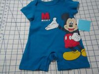 Disney Mickey Mouse Size 0/3 M Blue Romper