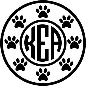personalized dog paw border circle monogram vinyl decal sticker car