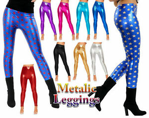 Ladies GIRLS METALLIC Blue With Red Gold Star LEGGINGS American SHINY FOIL PANTS