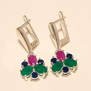 Natural-Emerald-Ruby-Sapphire-Earrings-925-Sterling-Silver-Women-Wedding-Jewelry
