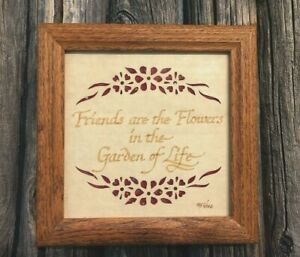 Scherenschnitte Vintage Paper Cutting Friends Picture-Calligraphy-Signed-Framed