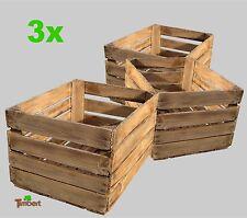 3x ALTE GEFLAMMTE OBSTKISTEN Apfelkisten Rustikale Weinkisten Holz Landhaus Deko