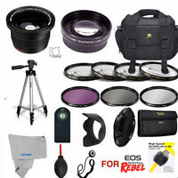 Canon Eos Rebel T3 T5 T3i T5i Hd Pro Kit Lenses Tripod Case Filters All Included
