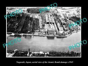 OLD-POSTCARD-SIZE-PHOTO-NAGASAKI-JAPAN-AERIAL-VIEW-OF-CITY-ATOMIC-BOMB-c1945-1