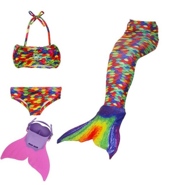 Bikini sets Girls boys Dress COS GIFT RAINBOW Swimmable Mermaid tail
